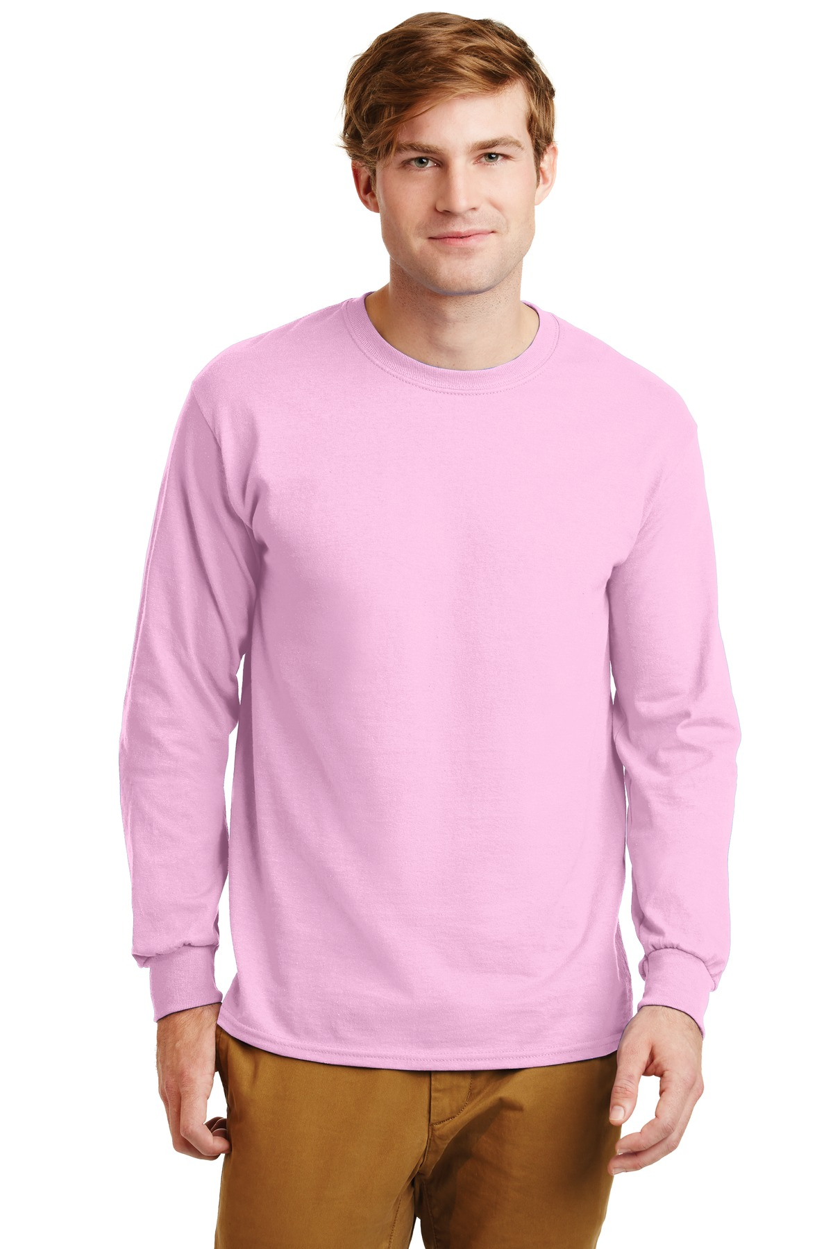 Gildan ®  - Ultra Cotton ®  100% Cotton Long Sleeve T-Shirt.  G2400 - Light Pink