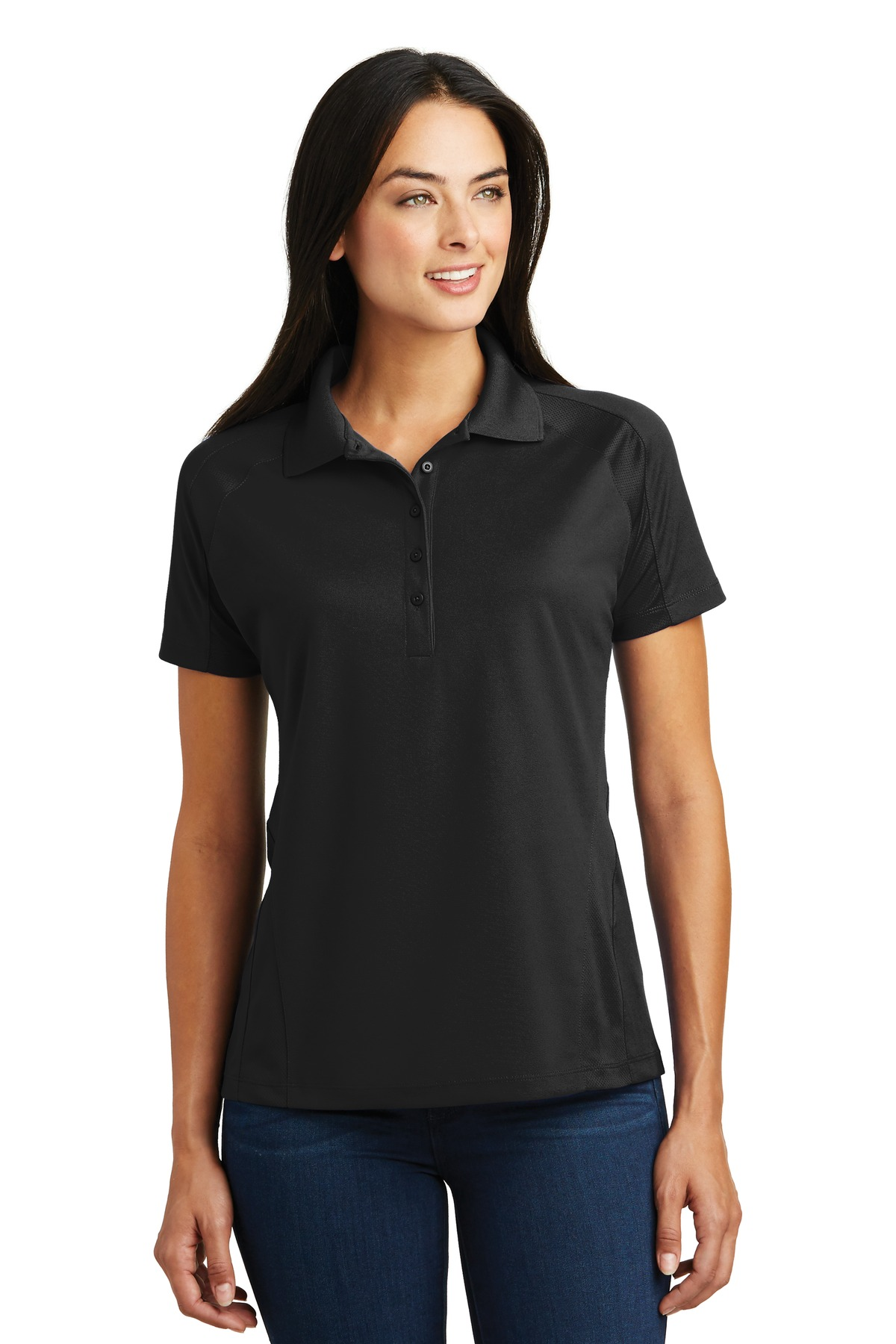Sport-Tek ®  Ladies Dri-Mesh ®  Pro Polo. L474 - Black
