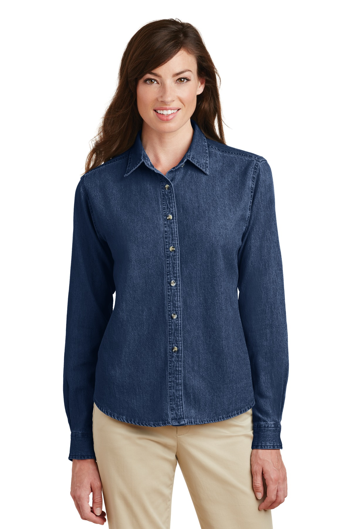 Port and Company - Ladies Long Sleeve Value Denim Shirt. LSP10