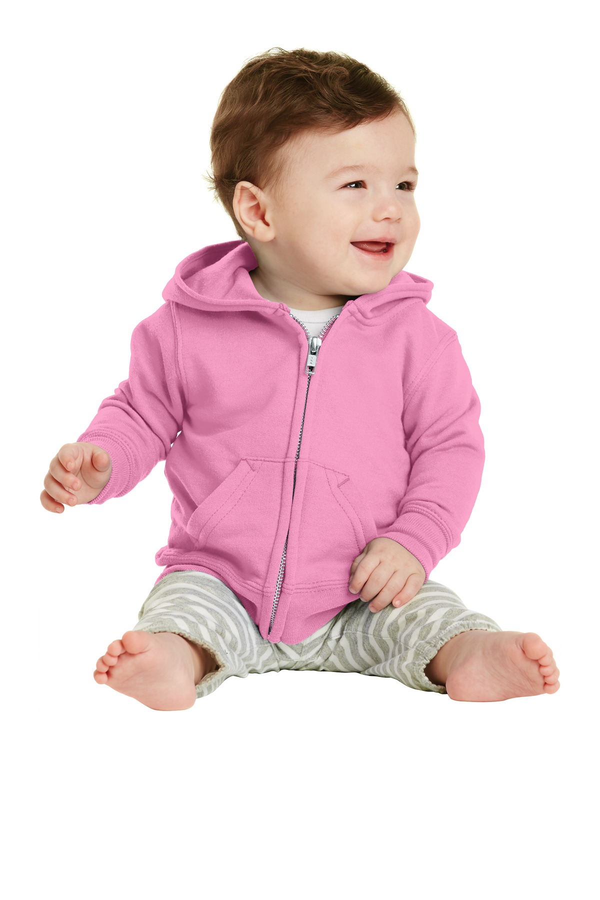 Port & Company ®  Infant Core Fleece Full-Zip Hooded Sweatshirt. CAR78IZH - Candy Pink