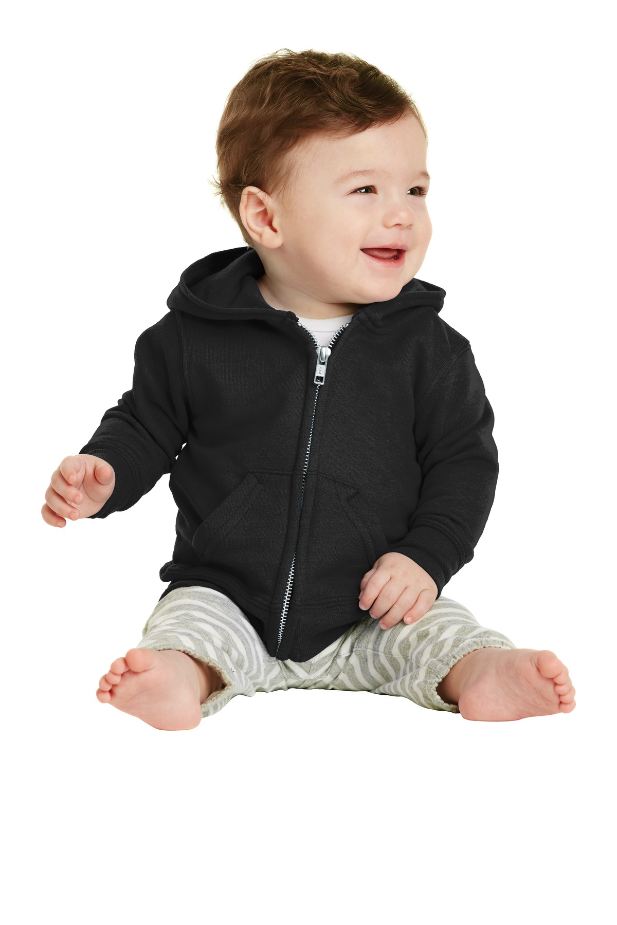 Port & Company ®  Infant Core Fleece Full-Zip Hooded Sweatshirt. CAR78IZH - Jet Black
