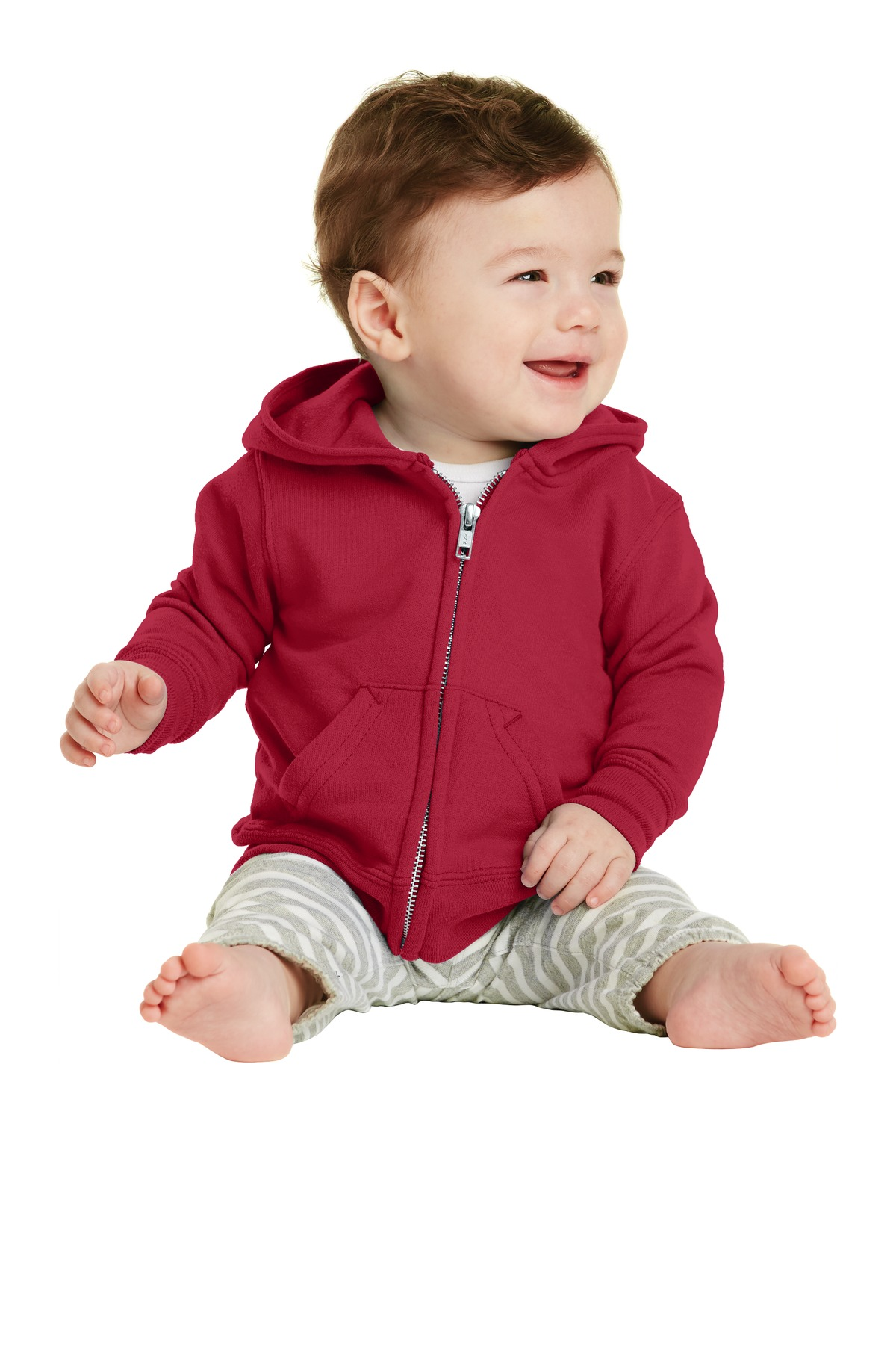 Port & Company ®  Infant Core Fleece Full-Zip Hooded Sweatshirt. CAR78IZH - Red