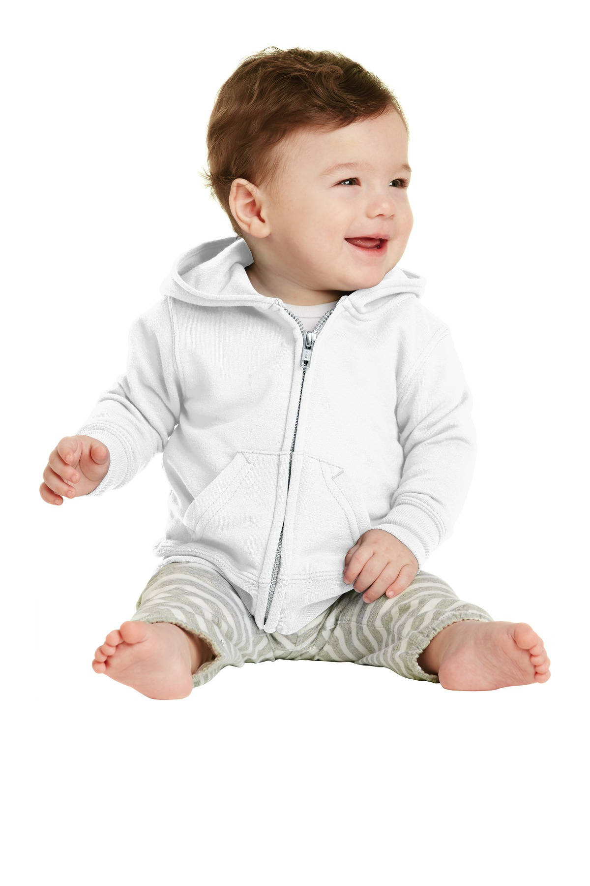 Port & Company ®  Infant Core Fleece Full-Zip Hooded Sweatshirt. CAR78IZH - White