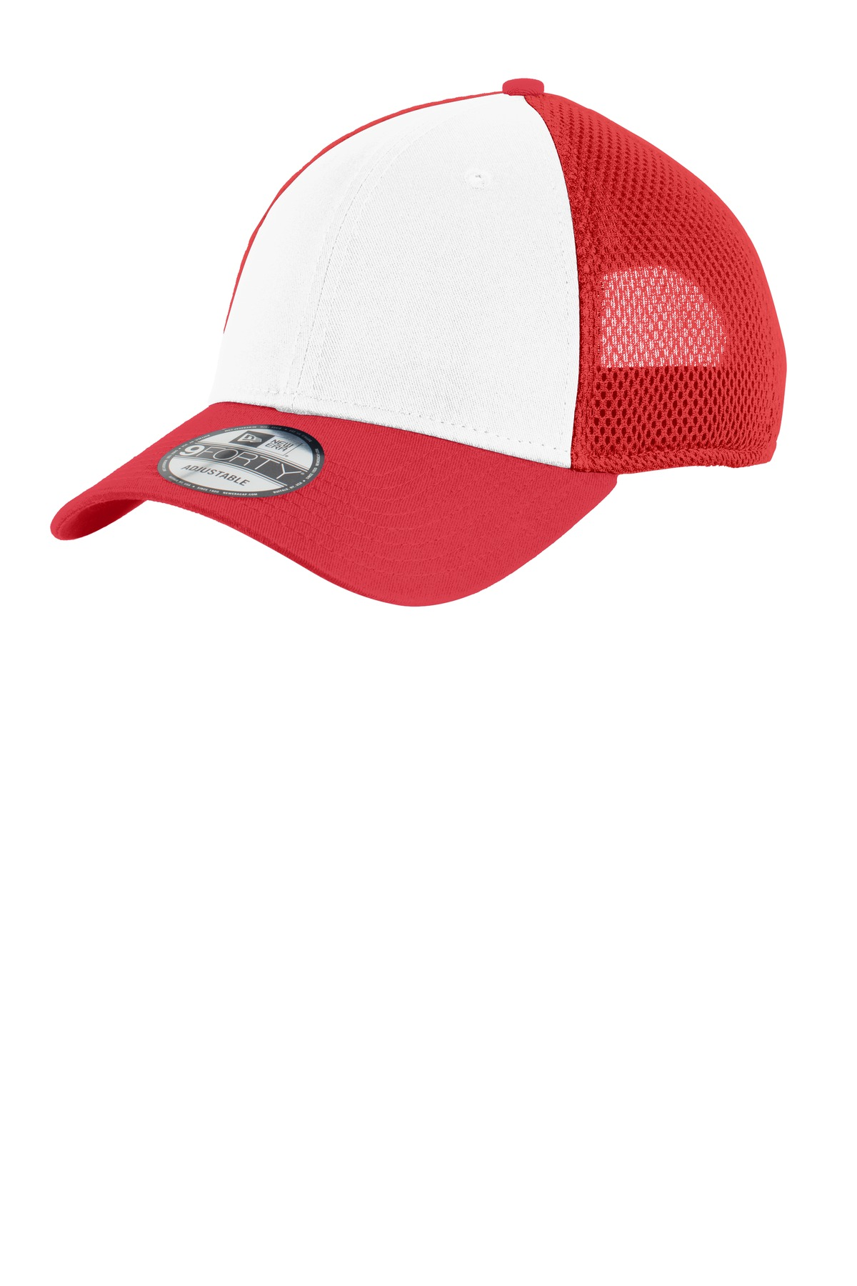 New Era ®  Snapback Contrast Front Mesh Cap. NE204 - White/ Scarlet Red