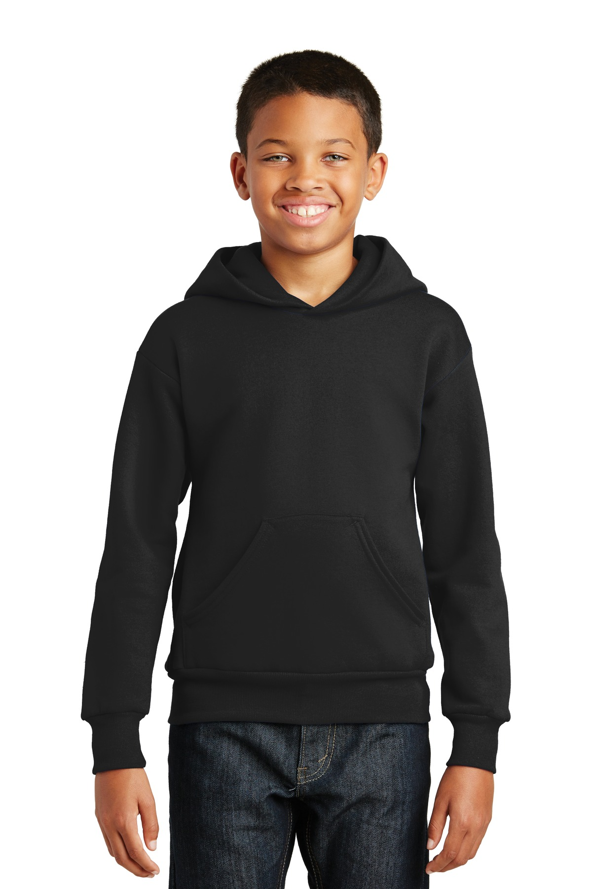 Hanes ®  - Youth EcoSmart ®  Pullover Hooded Sweatshirt.  P470 - Black
