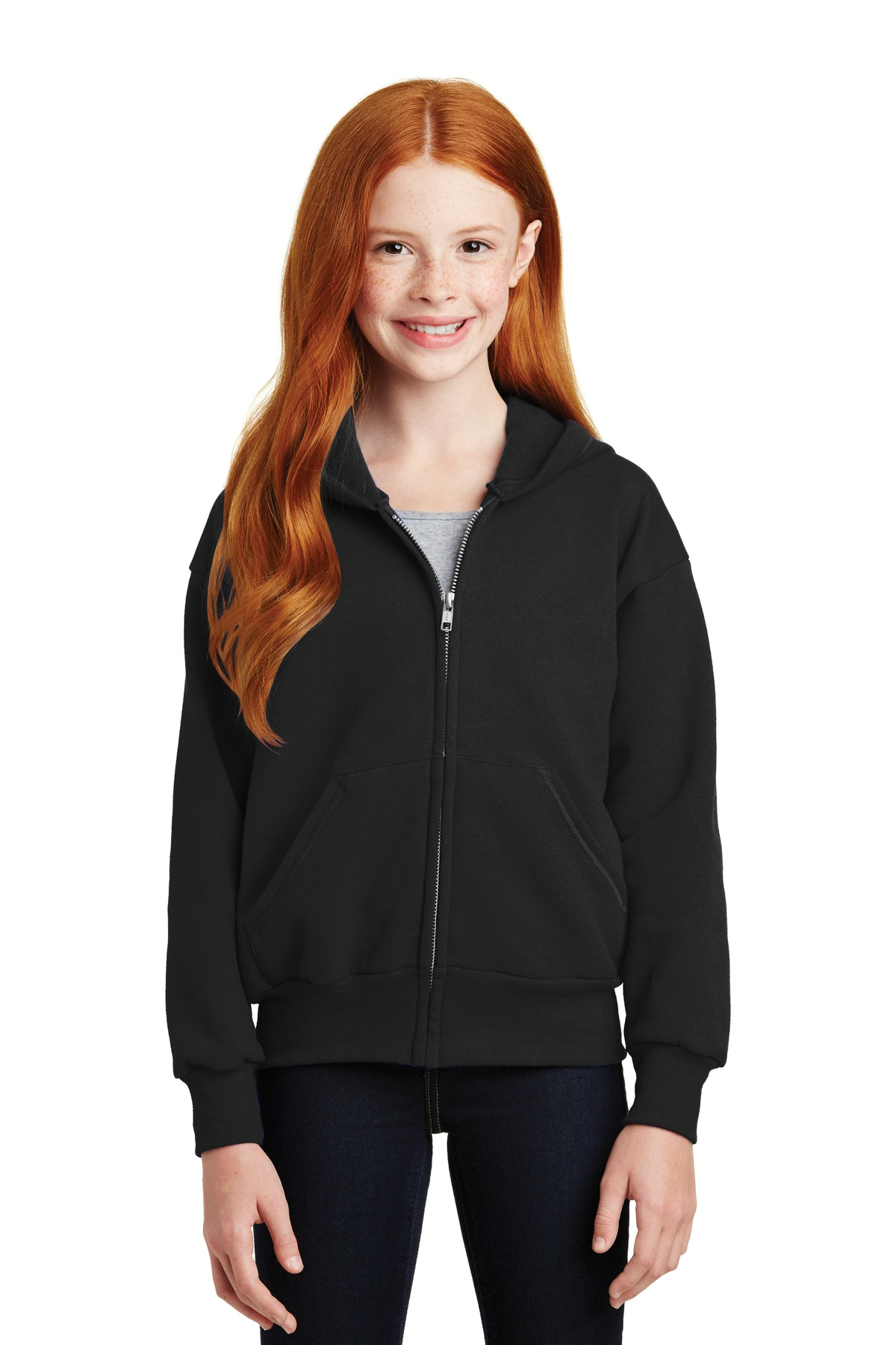 Hanes ®  - Youth EcoSmart ®  Full-Zip Hooded Sweatshirt. P480 - Black