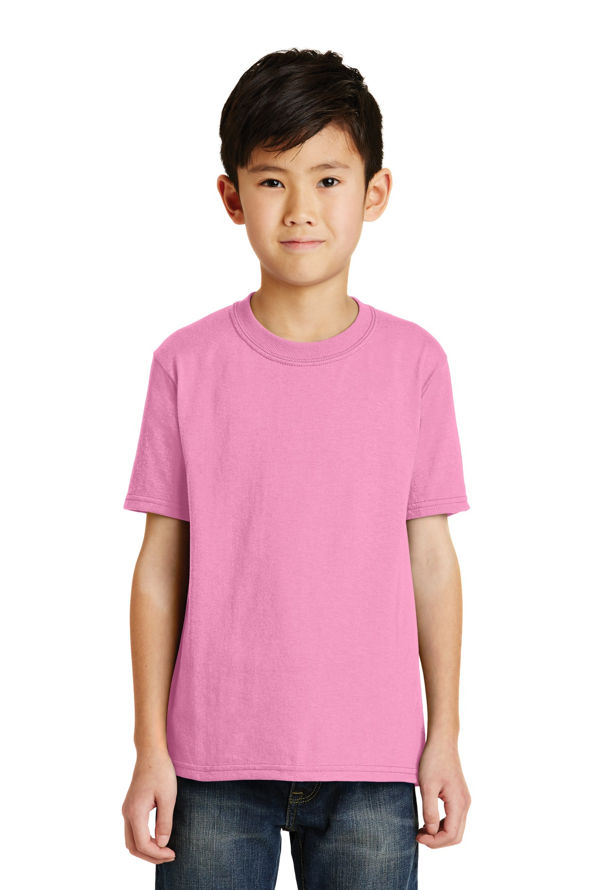 Port & Company ®  - Youth Core Blend Tee.  PC55Y - Candy Pink