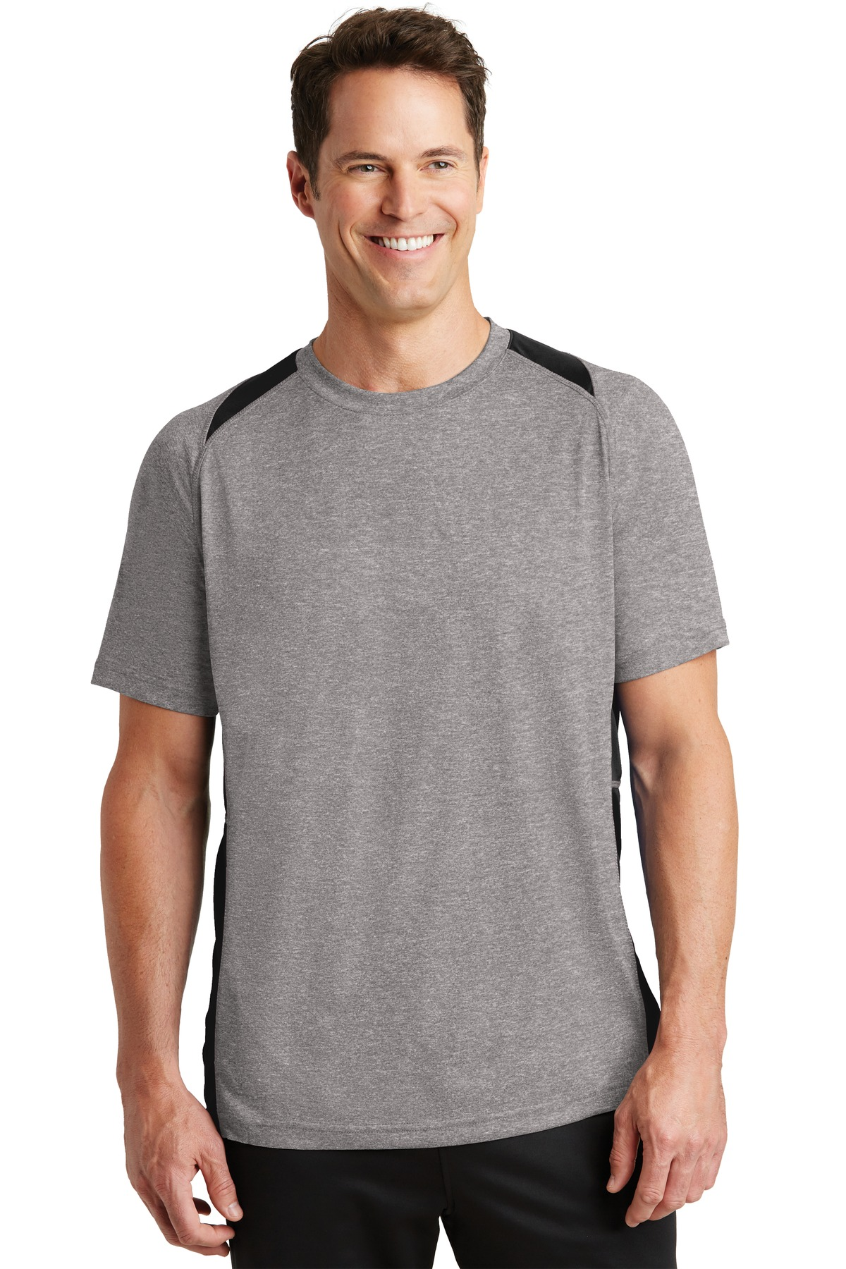 Sport-Tek ®  Heather Colorblock Contender ™  Tee. ST361 - Vintage Heather/ Black