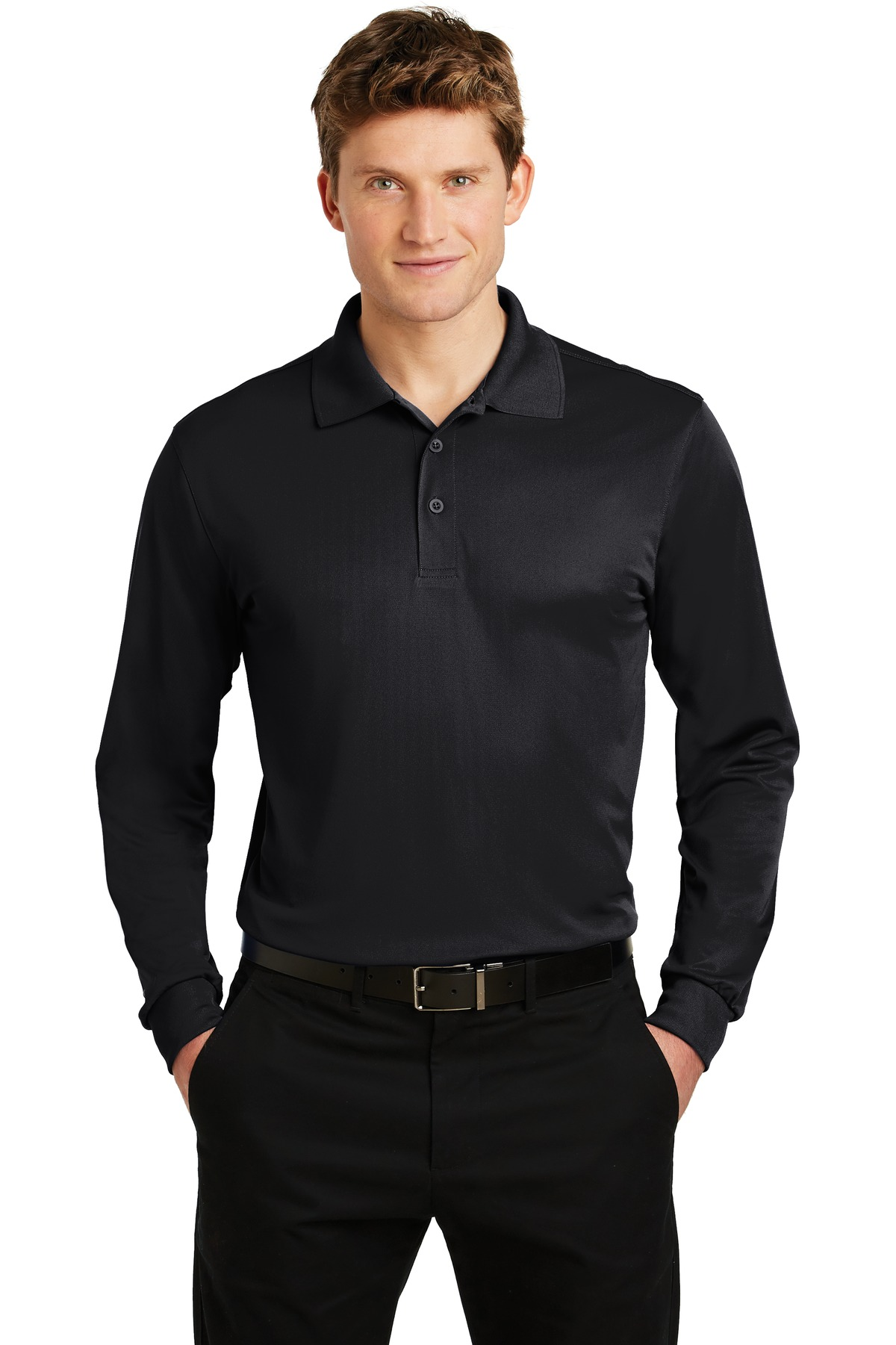 Sport-Tek ®  Long Sleeve Micropique Sport-Wick ®  Polo. ST657 - Black