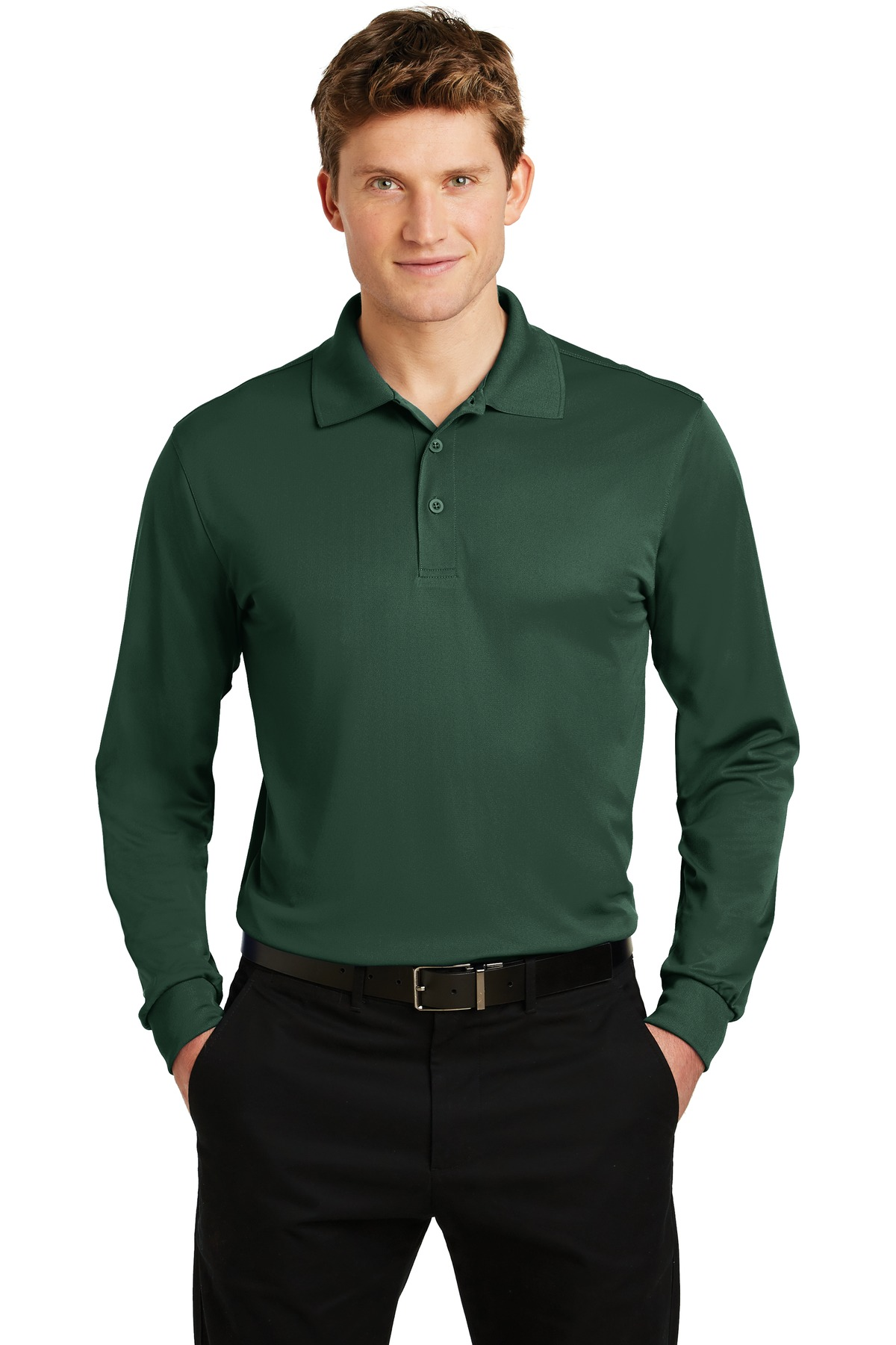 Sport-Tek ®  Long Sleeve Micropique Sport-Wick ®  Polo. ST657 - Forest Green