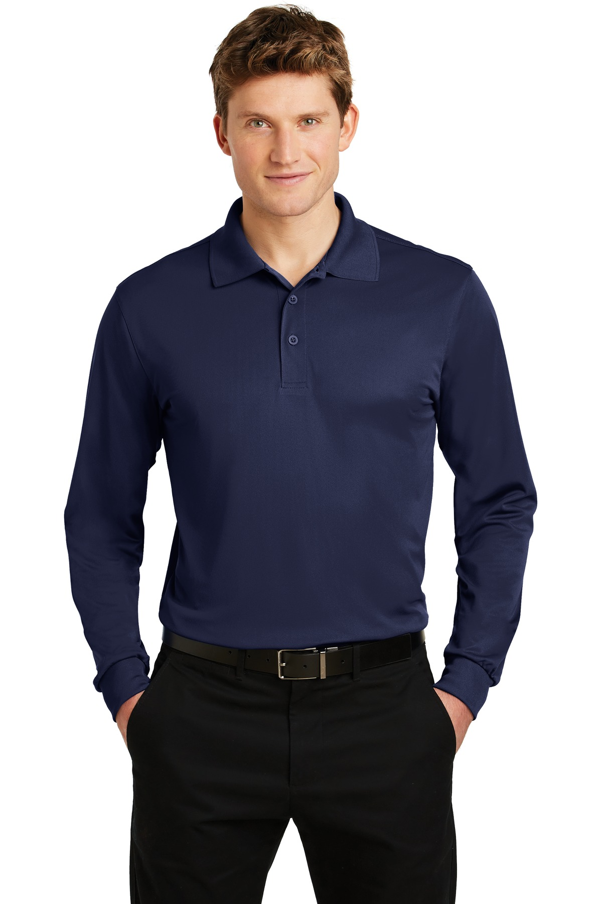 Sport-Tek ®  Long Sleeve Micropique Sport-Wick ®  Polo. ST657 - True Navy