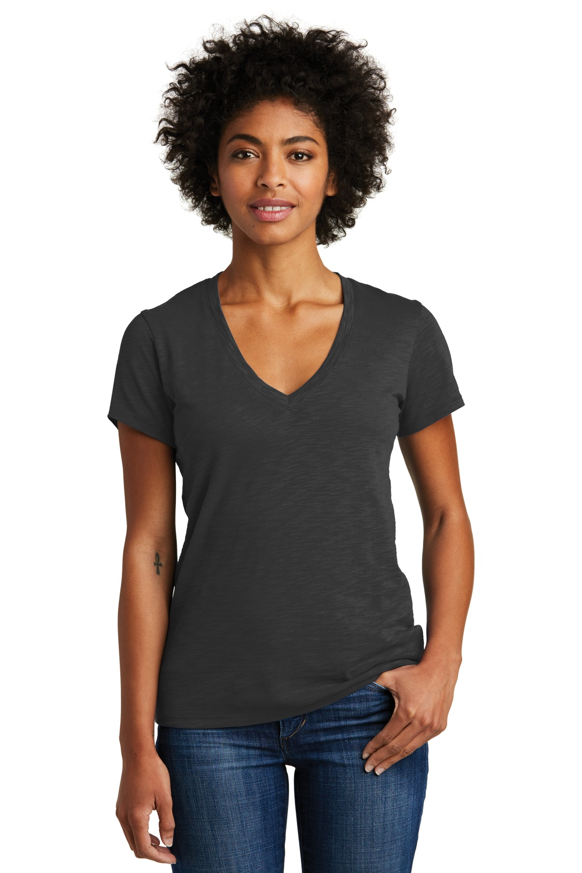 Alternative Women's Weathered Slub So-Low V-Neck Tee. AA6097 - Washed Black