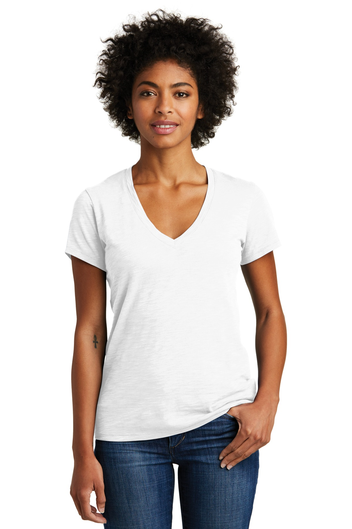Alternative Women''s Weathered Slub So-Low V-Neck Tee. AA6097
