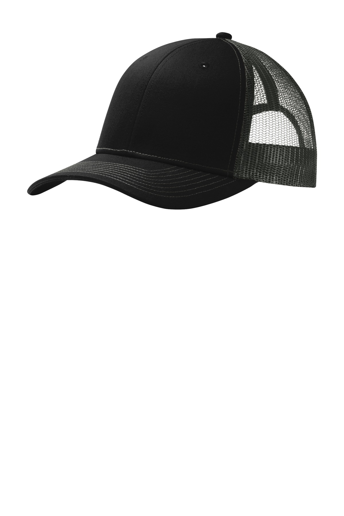 Port Authority ®  Snapback Trucker Cap. C112 - Black/ Grey Steel