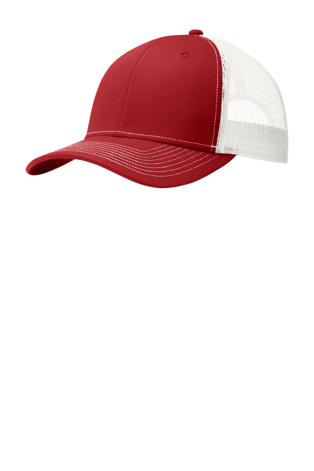 Port Authority ®  Snapback Trucker Cap. C112 - Flame Red/ White