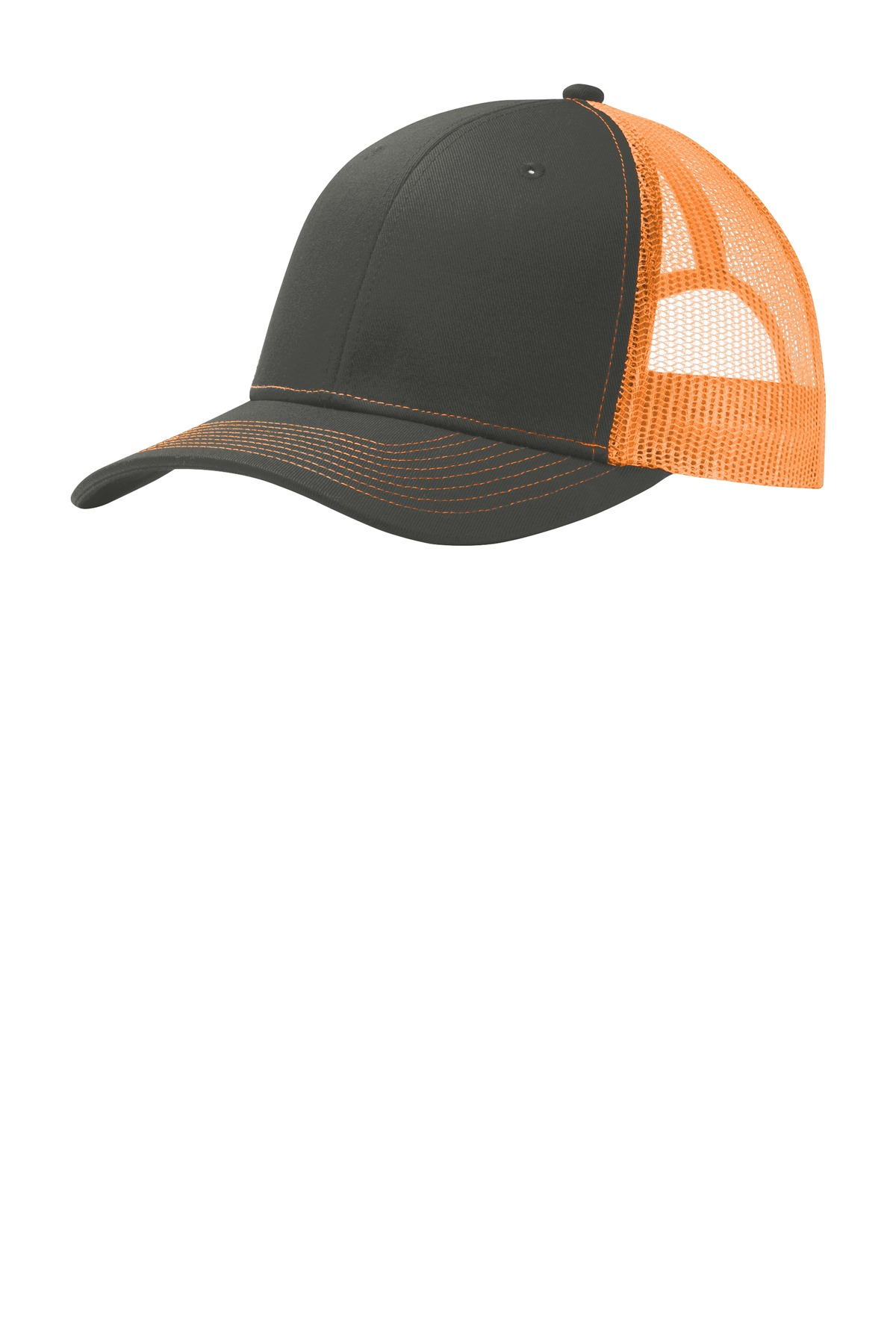 Port Authority ®  Snapback Trucker Cap. C112 - Grey Steel/ Neon Orange