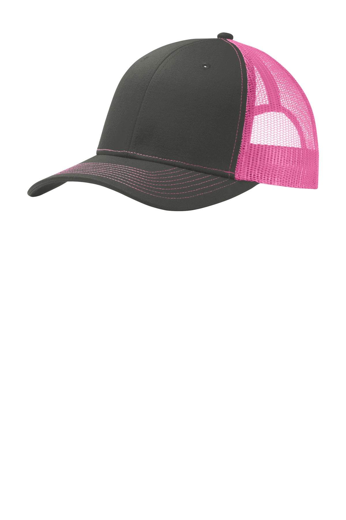 Port Authority ®  Snapback Trucker Cap. C112 - Grey Steel/ Neon Pink