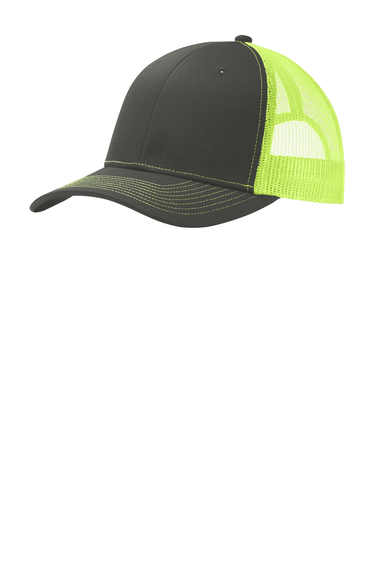 Port Authority ®  Snapback Trucker Cap. C112 - Grey Steel/ Neon Yellow