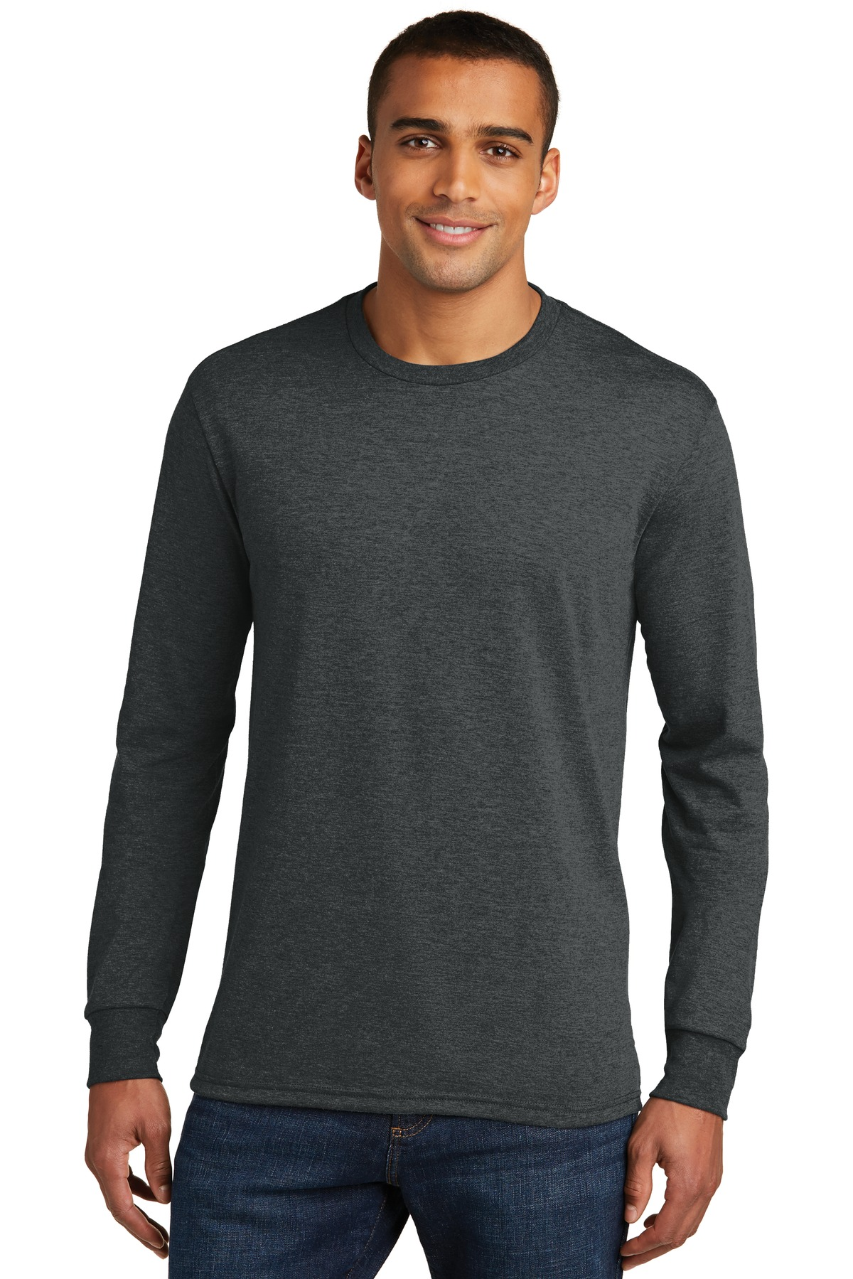 District ®  Perfect Tri ®  Long Sleeve Tee . DM132 - Black Frost