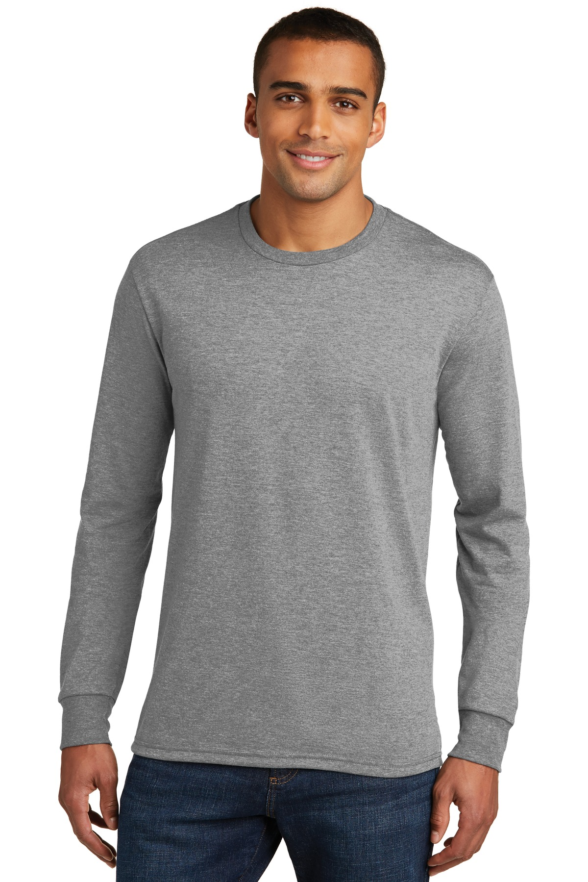District ®  Perfect Tri ®  Long Sleeve Tee . DM132 - Grey Frost