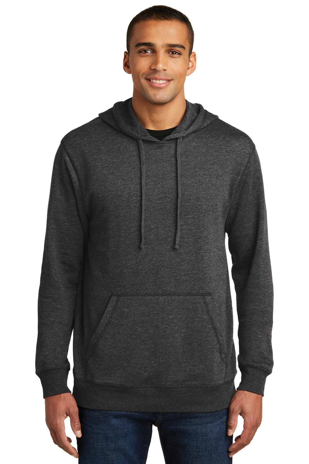 District ®  Lightweight Fleece Hoodie. DM391 - Heathered Black