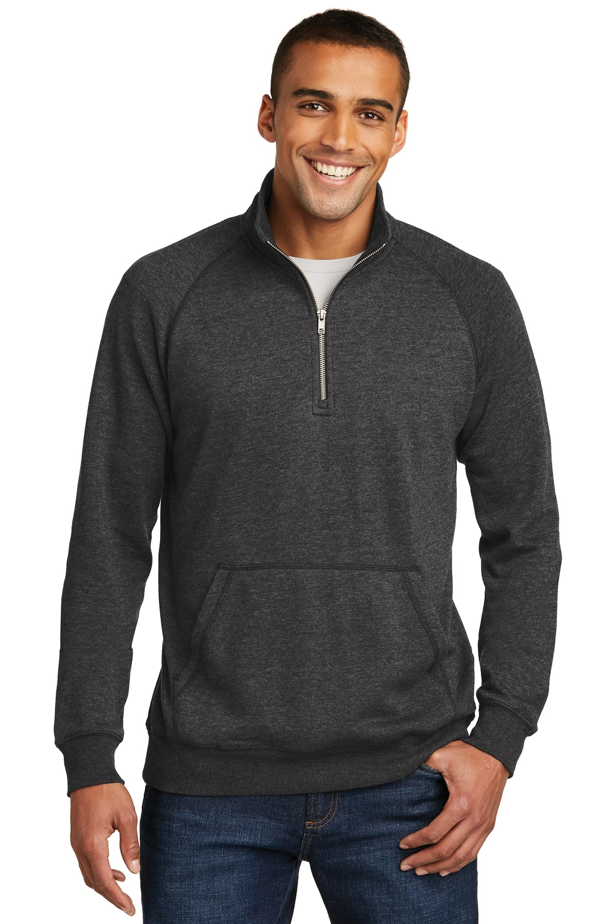 District ®  Lightweight Fleece 1/4-Zip. DM392 - Heathered Black