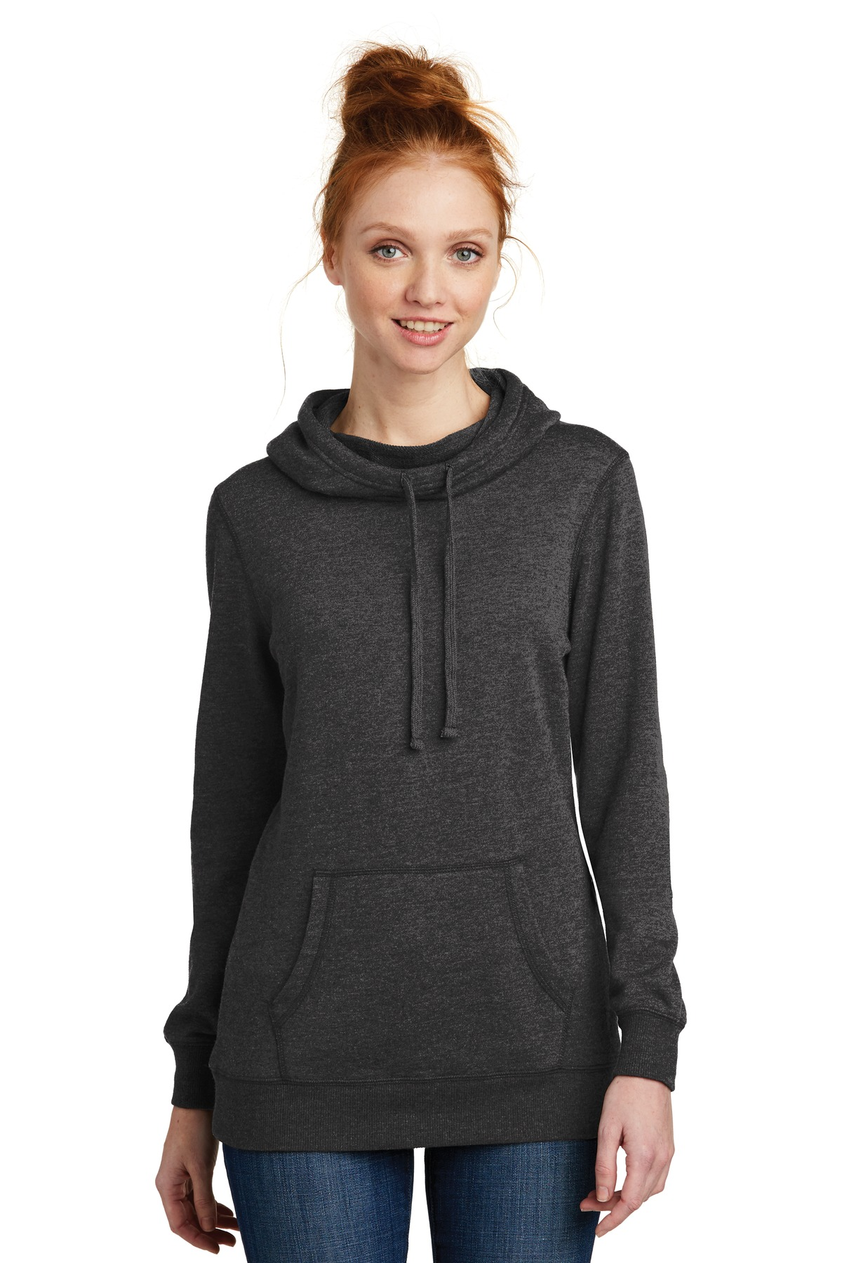 District  ®  Women's Lightweight Fleece Hoodie. DM493 - Heathered Black