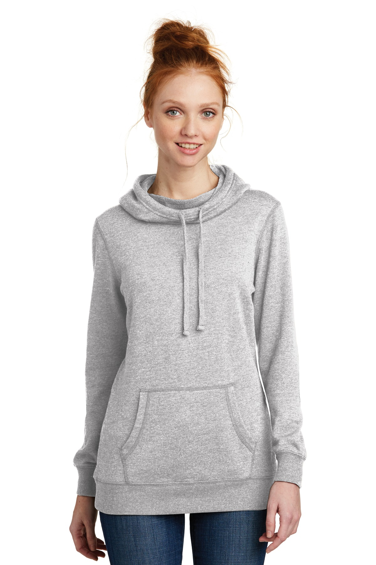 District  ®  Women's Lightweight Fleece Hoodie. DM493 - Heathered Grey
