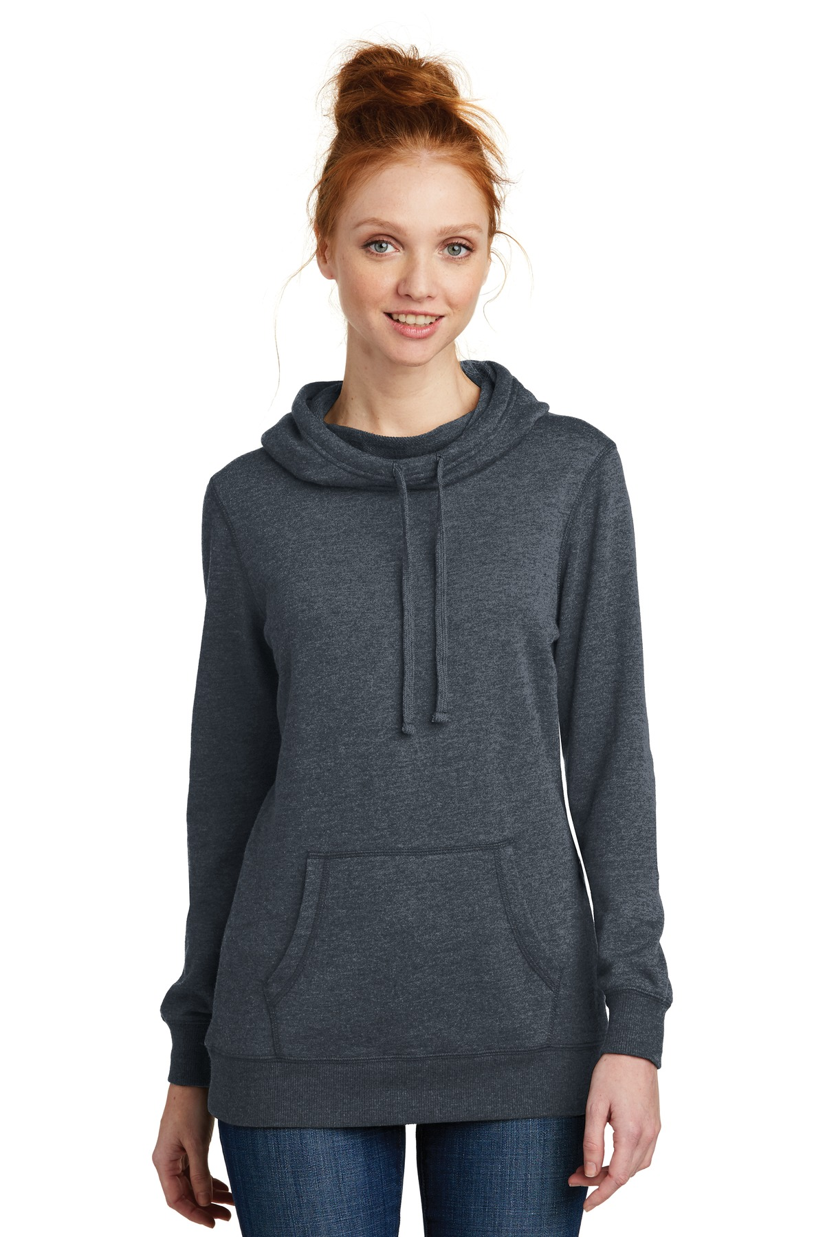 District  ®  Women's Lightweight Fleece Hoodie. DM493 - Heathered Navy