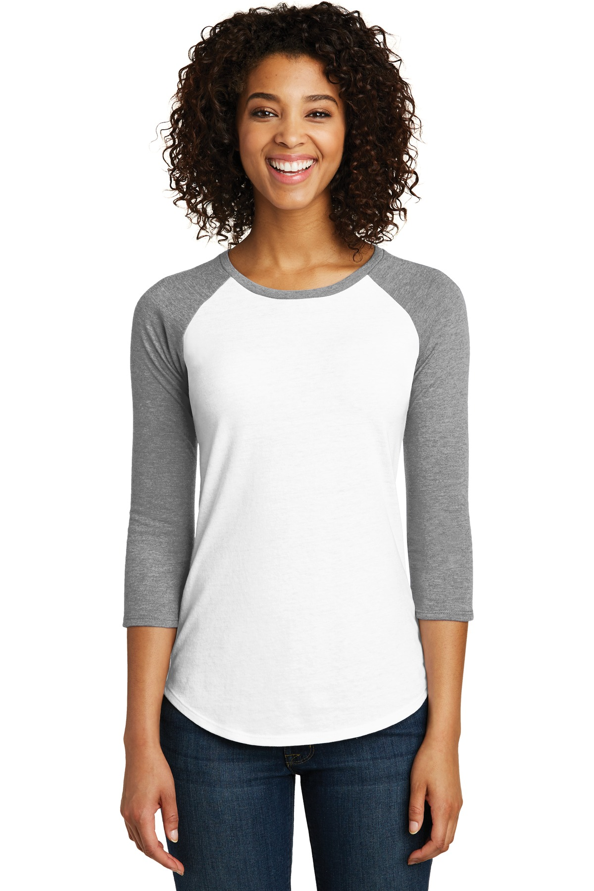 District ®  Women's Fitted Very Important Tee ®  3/4-Sleeve Raglan. DT6211 - Light Heather Grey/ White