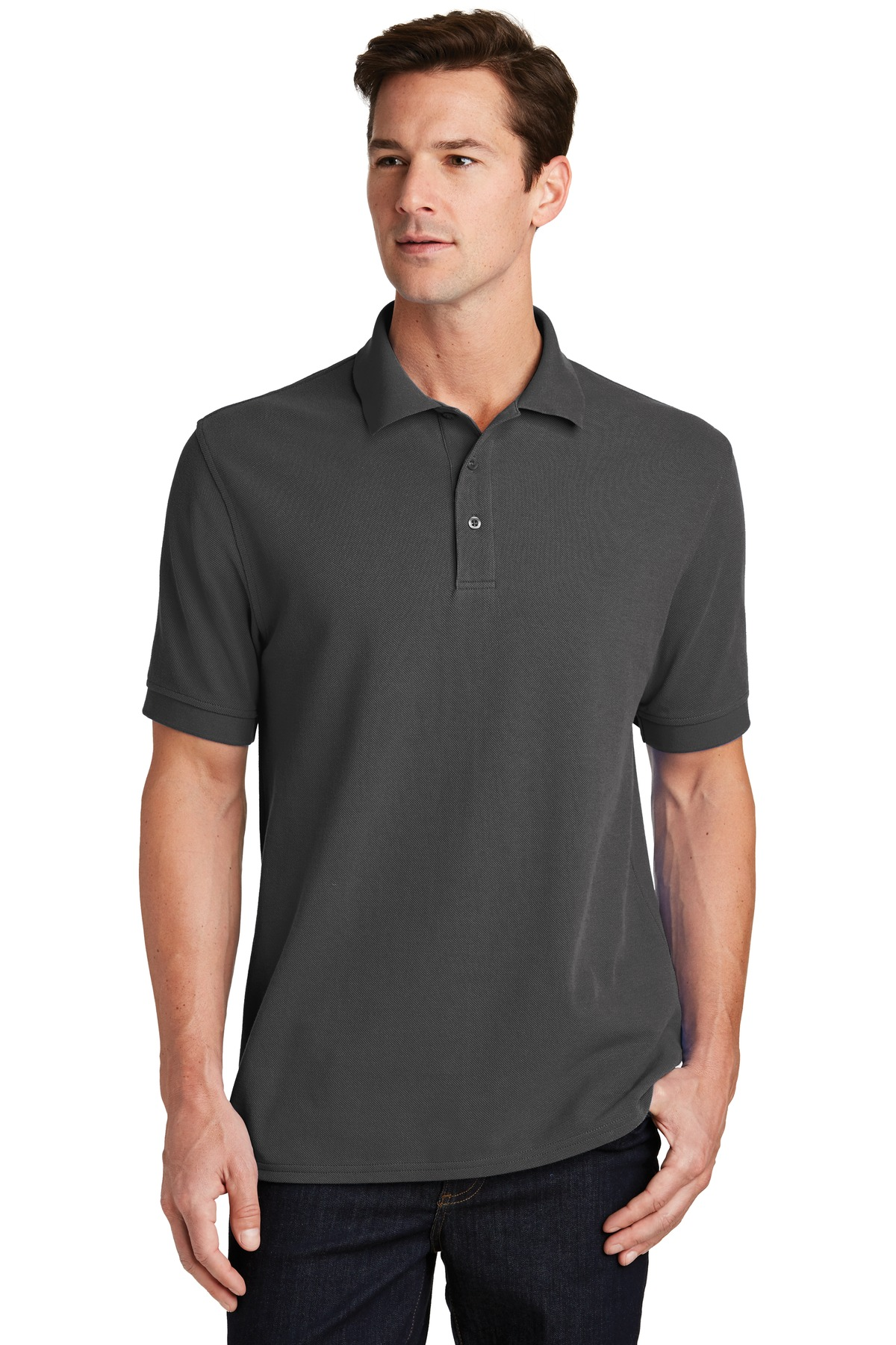 Port & Company ®  Combed Ring Spun Pique Polo. KP1500 - Charcoal