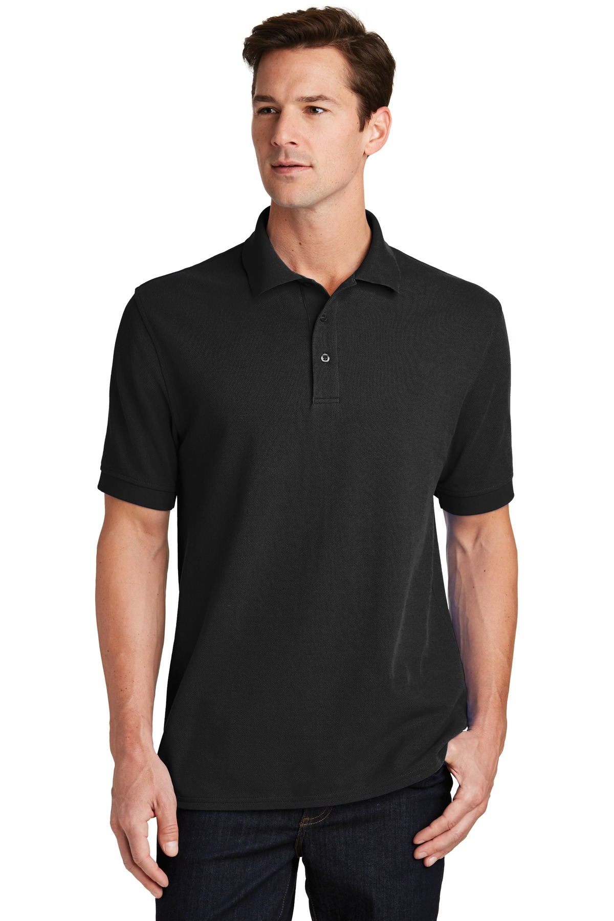 Port & Company ®  Combed Ring Spun Pique Polo. KP1500 - Jet Black
