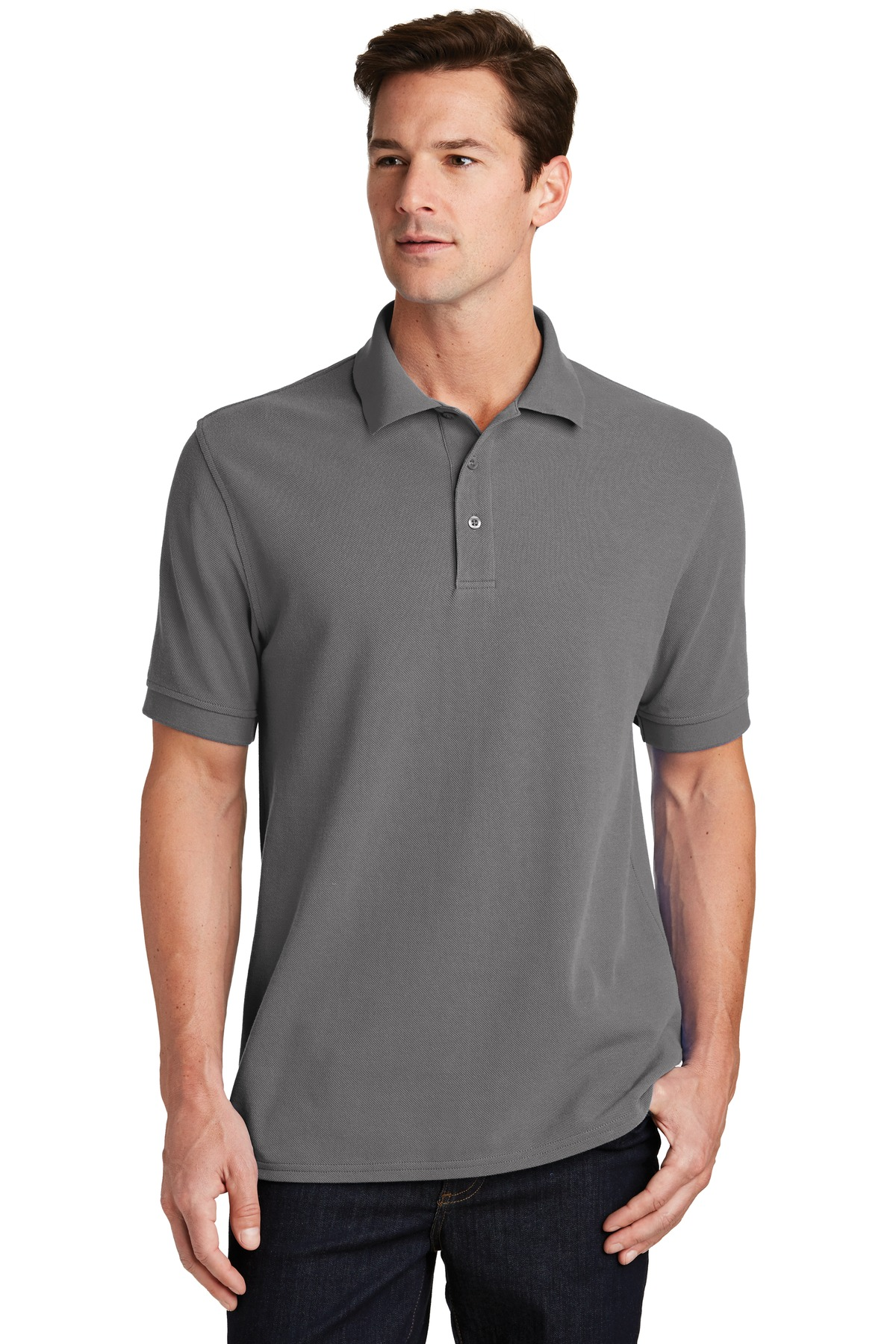 Port & Company ®  Combed Ring Spun Pique Polo. KP1500 - Medium Grey