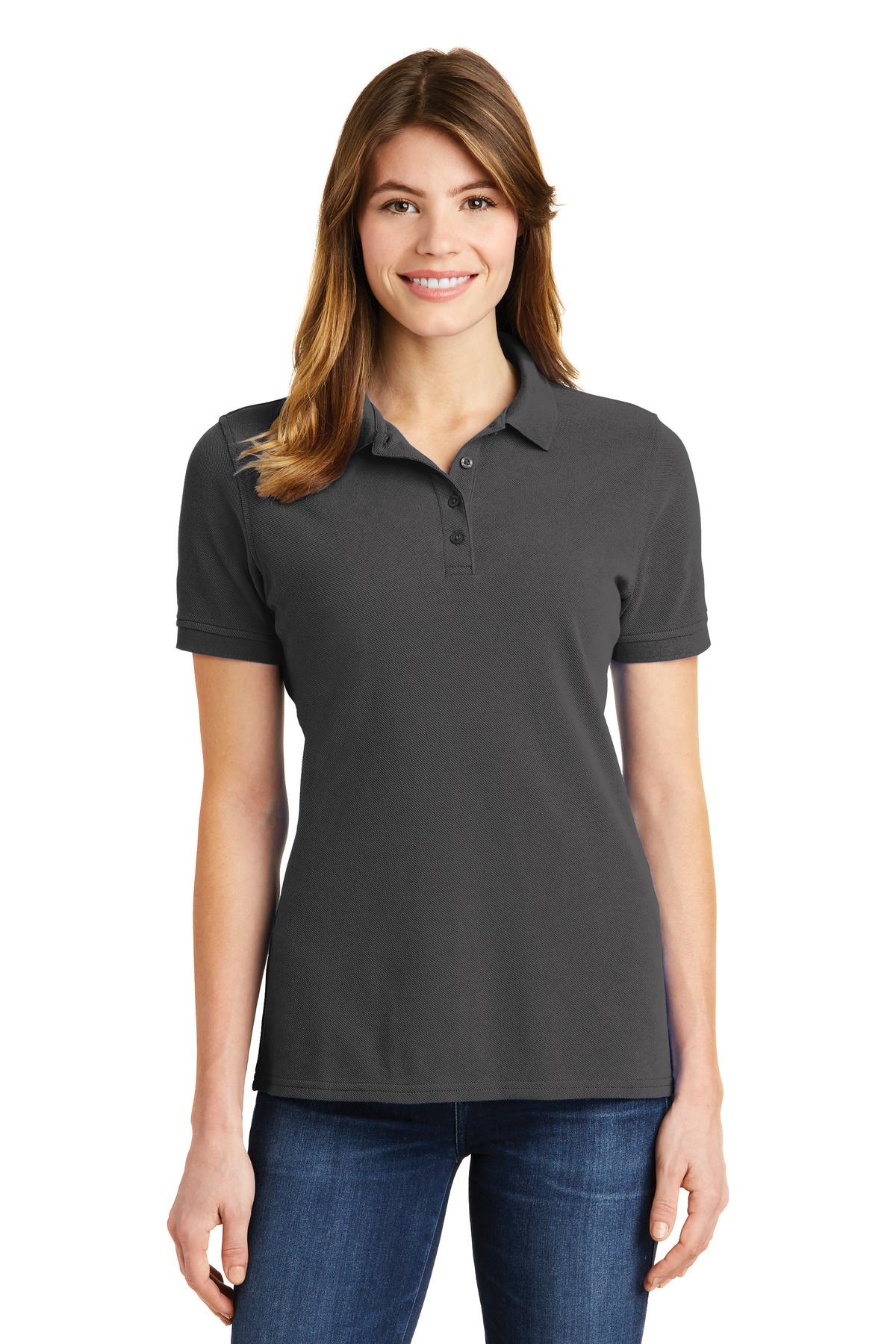 Port & Company ®  Ladies Combed Ring Spun Pique Polo. LKP1500 - Charcoal
