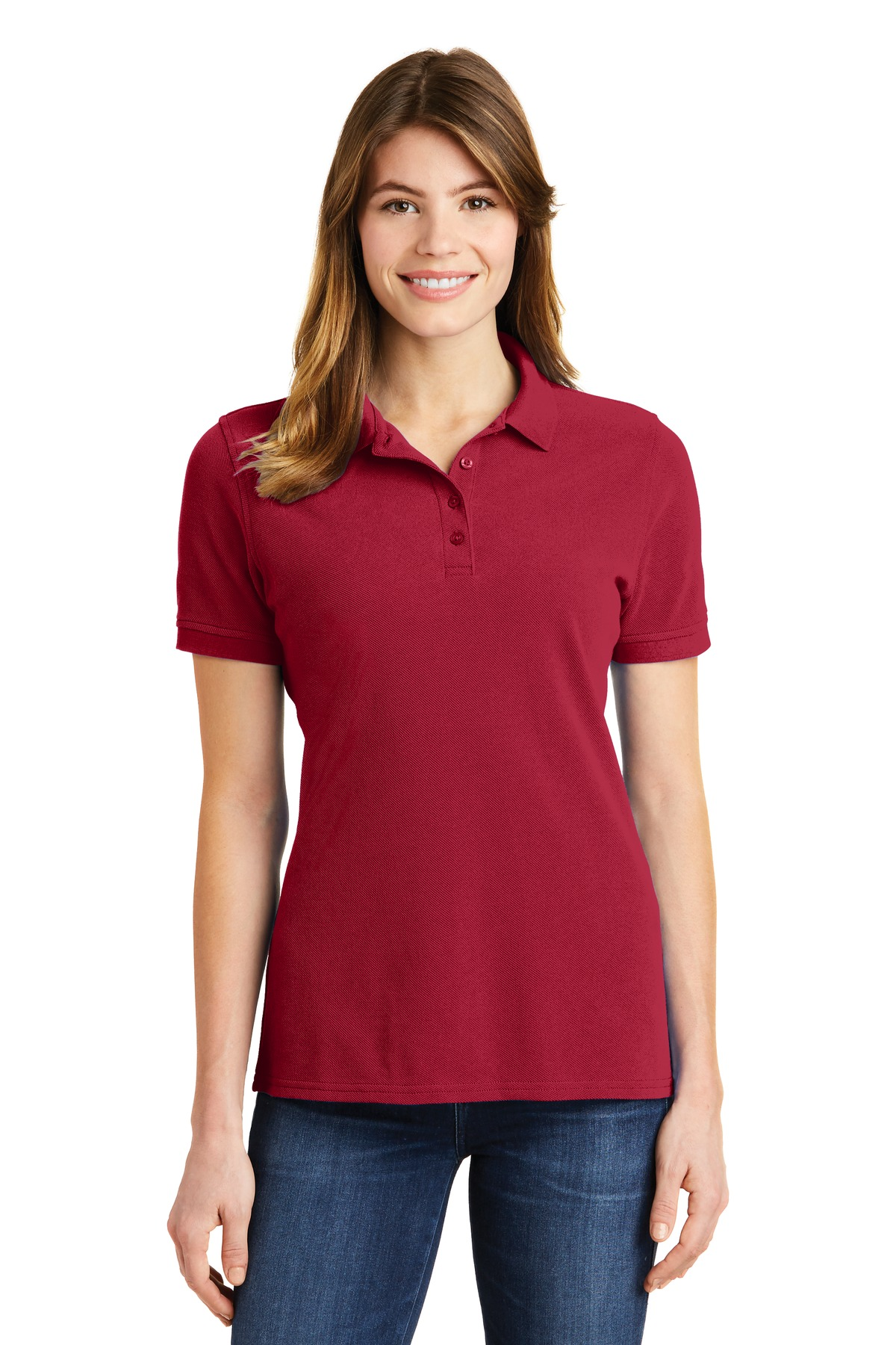 Port & Company ®  Ladies Combed Ring Spun Pique Polo. LKP1500 - Red