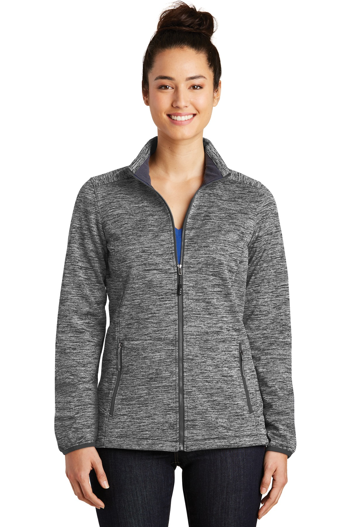 Sport-Tek ®  Ladies PosiCharge ®  Electric Heather Soft Shell Jacket. LST30 - Black Electric