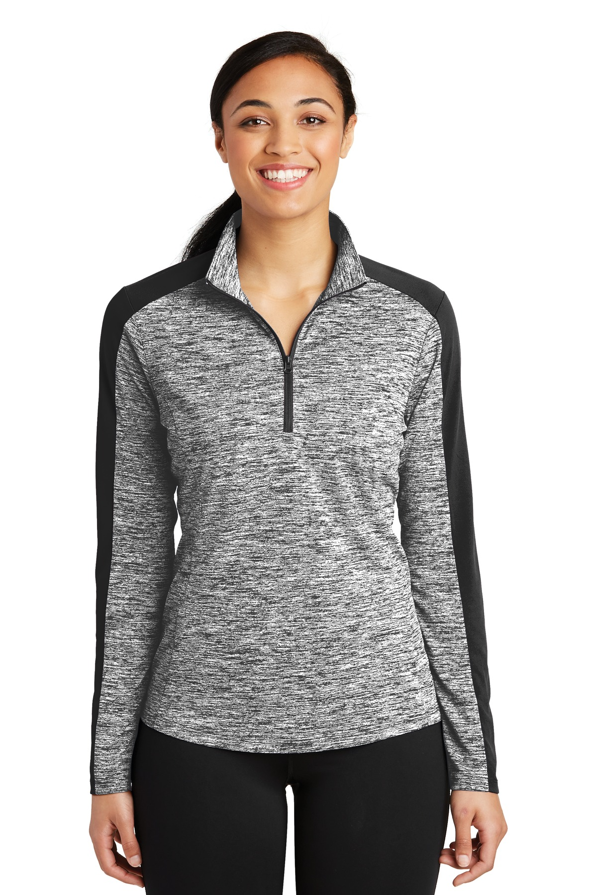 Sport-Tek ®  Ladies PosiCharge ®  Electric Heather Colorblock 1/4-Zip Pullover. LST397 - Black Electric/ Black