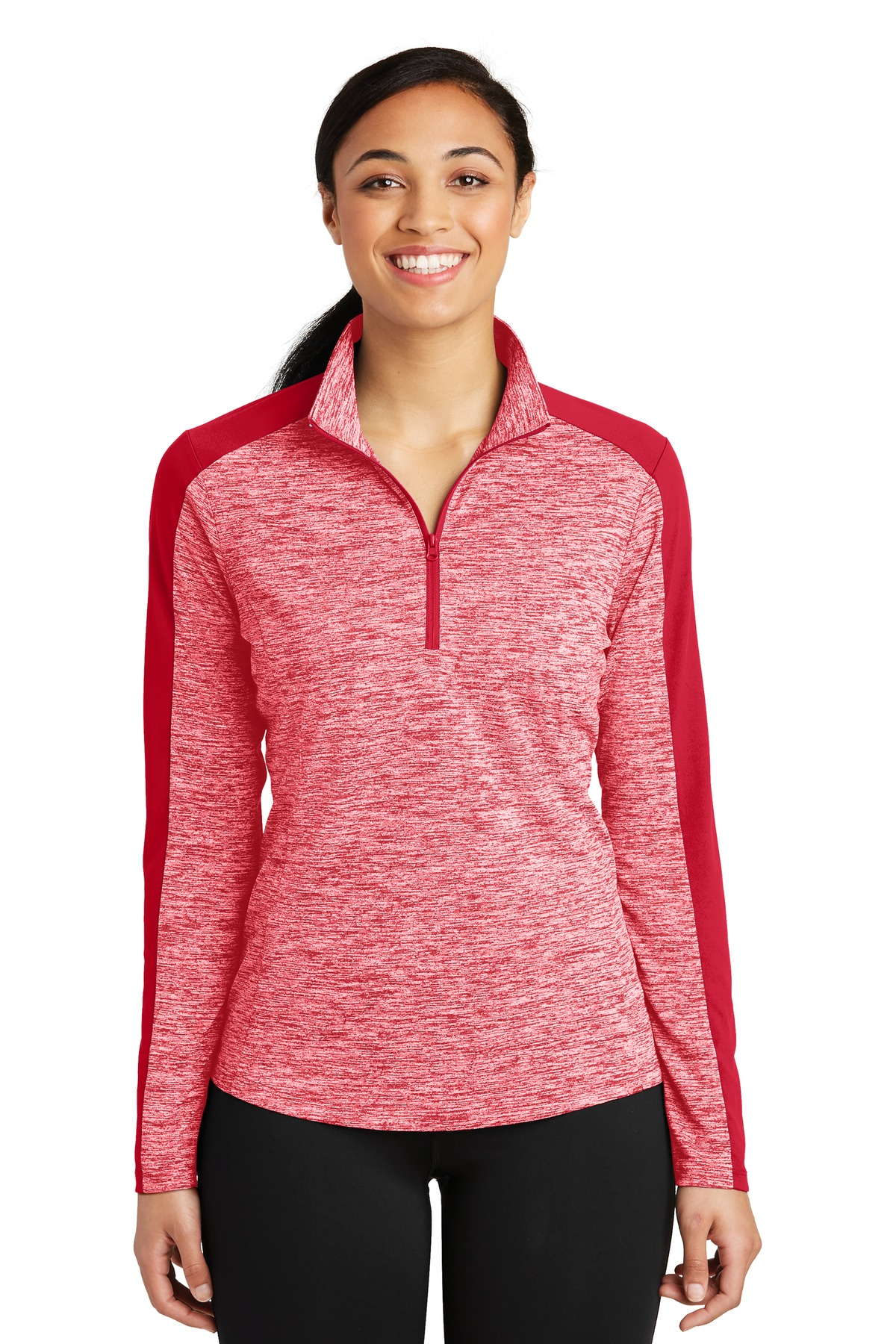 Sport-Tek ®  Ladies PosiCharge ®  Electric Heather Colorblock 1/4-Zip Pullover. LST397 - Deep Red Electric/ Deep Red