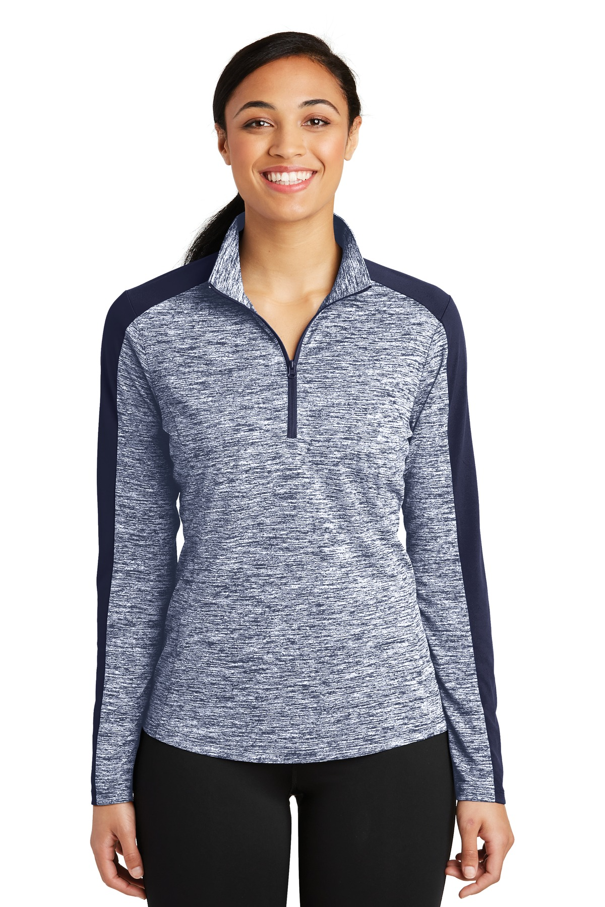 Sport-Tek ®  Ladies PosiCharge ®  Electric Heather Colorblock 1/4-Zip Pullover. LST397 - True Navy Electric/ True Navy