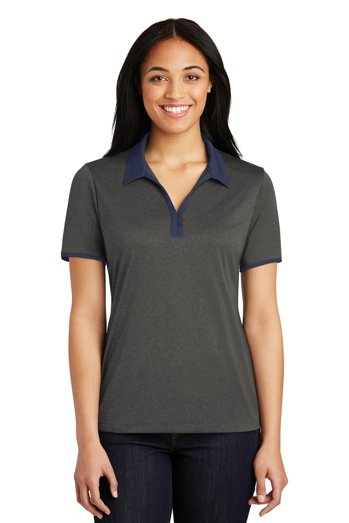 Sport-Tek ®  Ladies Heather Contender ™  Contrast Polo. LST667 - Graphite Heather/ True Navy