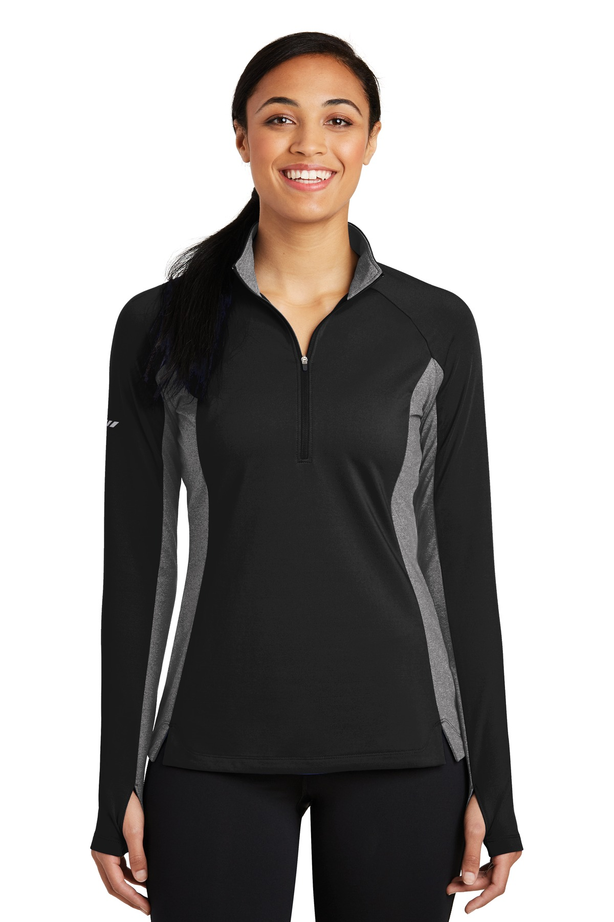 Sport-Tek ®  Ladies Sport-Wick ®  Stretch Contrast 1/2-Zip Pullover. LST854 - Black/ Charcoal Grey Heather