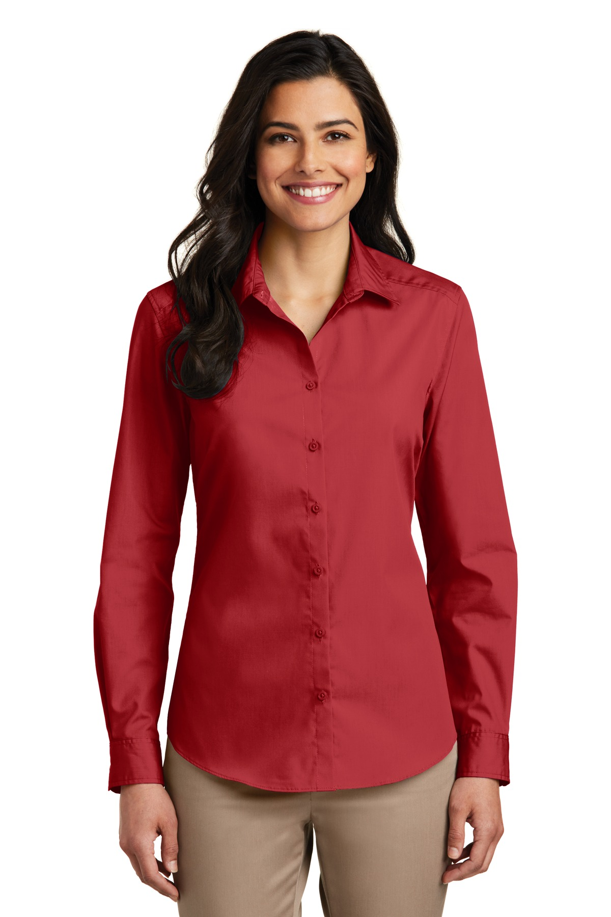 Port Authority ®  Ladies Long Sleeve Carefree Poplin Shirt. LW100 - Rich Red