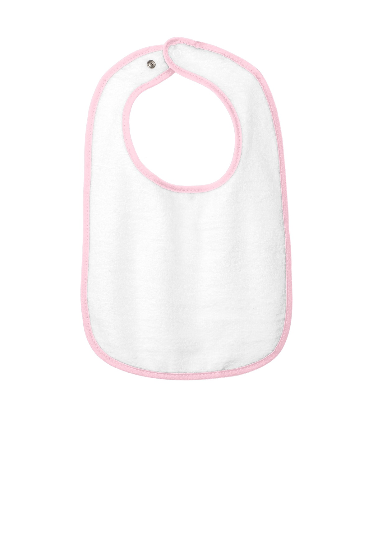 Rabbit Skins ™  Infant Contrast Trim Terry Bib. RS1003 - Pink