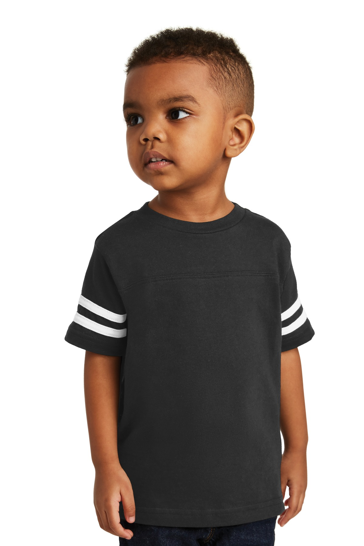 Rabbit Skins ™  Toddler Football Fine Jersey Tee. RS3037 - Black/White