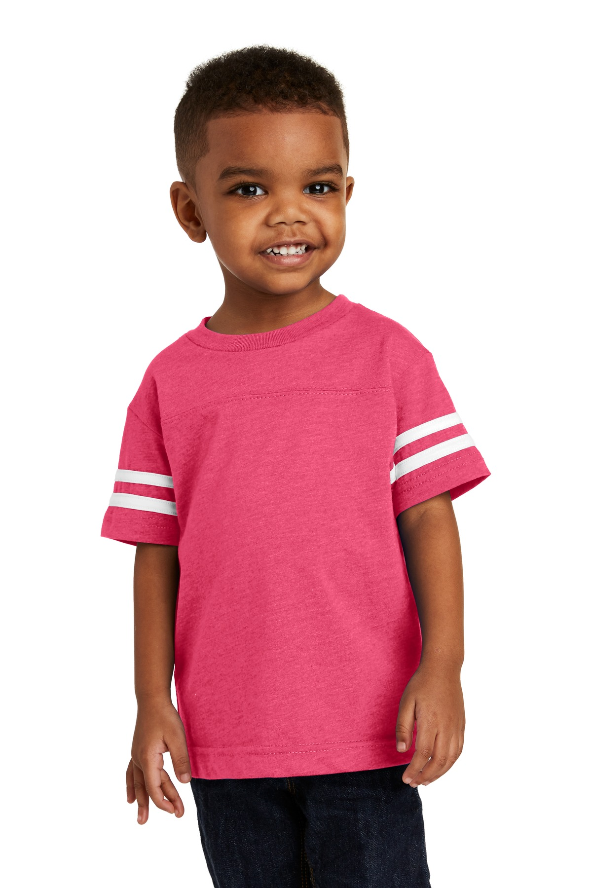 Rabbit Skins ™  Toddler Football Fine Jersey Tee. RS3037 - Vintage Hot Pink/ Blended White