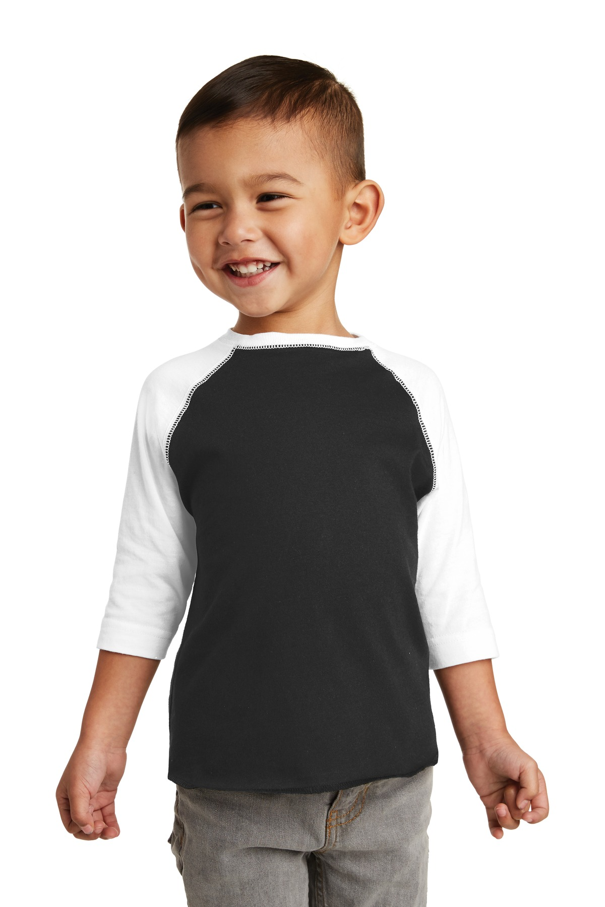 Rabbit Skins ™  Toddler Baseball Fine Jersey Tee. RS3330 - Black/ White