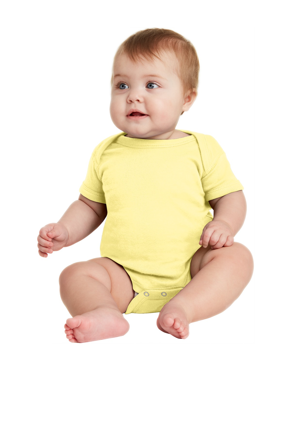 Rabbit Skins ™  Infant Short Sleeve Baby Rib Bodysuit. RS4400 - Banana