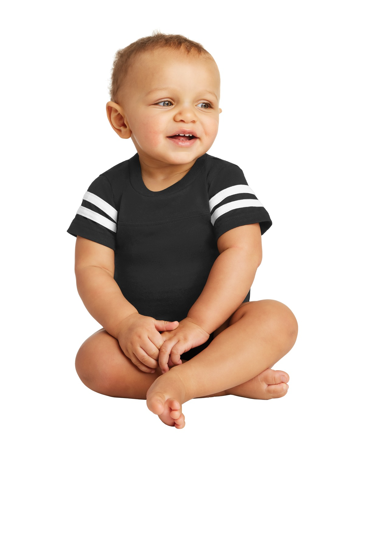 Rabbit Skins ™  Infant Football Fine Jersey Bodysuit. RS4437 - Black/ White