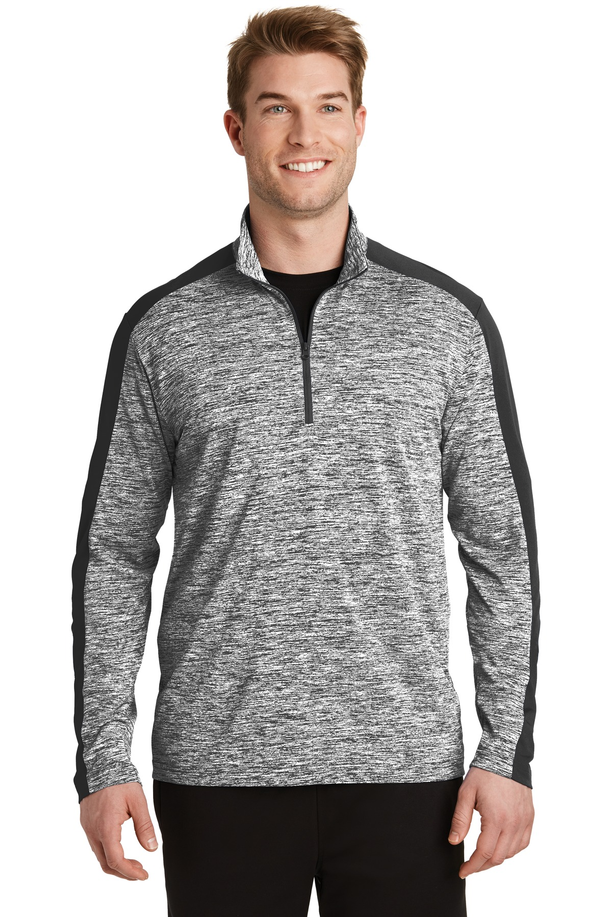 Sport-Tek ®  PosiCharge ®  Electric Heather Colorblock 1/4-Zip Pullover. ST397 - Black Electric/ Black