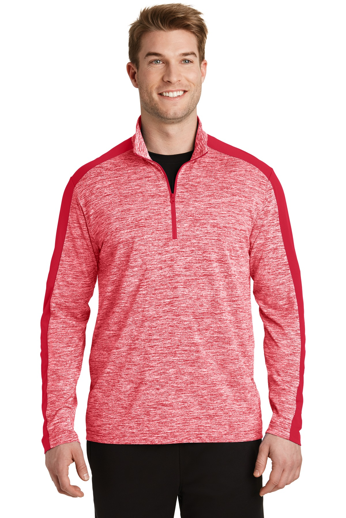 Sport-Tek ®  PosiCharge ®  Electric Heather Colorblock 1/4-Zip Pullover. ST397 - Deep Red Electric/ Deep Red